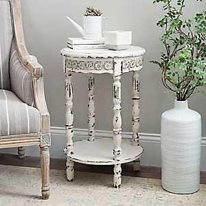 Vintage White Medallion Round Accent Table