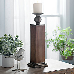 Natural Wood Candle Holder, 17 in.