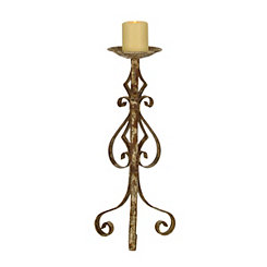Distressed Bronze Scroll Candle Holder, 20.5 in.