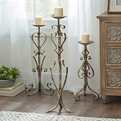 Rustic Bronze Scroll Floor Candle Holder, 31.5 in.