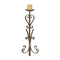 Rustic Bronze Scroll Candle Holder, 26.2 in.