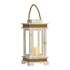 Camilla White Wood and Rope Lantern