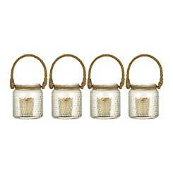 Clear Hobnail Glass Lanterns, Set of 4