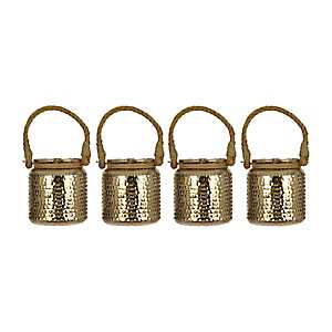 Gold Hobnail Mercury Glass Lanterns, Set of 4