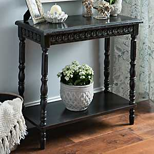 Black Vintage French Medallion Console Table