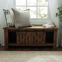 Natural Farmhouse Sliding Bench