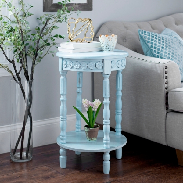 Distressed Blue Vintage Medallion Accent Table Part 69