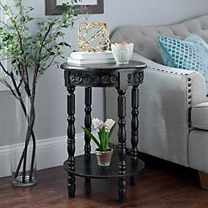Black Vintage French Medallion Accent Table