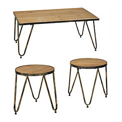 Metal and Wood Caden Table Set, Set of 3