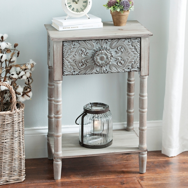 Emily Embossed Metal Accent Table