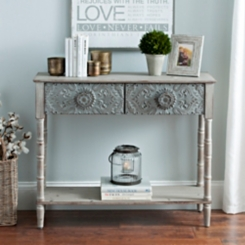 Emily Embossed Metal Console Table