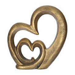 Bronze Double Heart Figurine