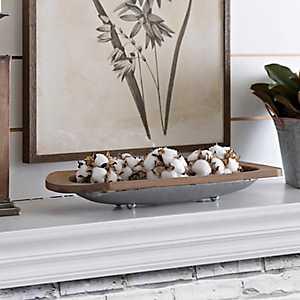 Galvanized Metal and Wood Rim Bowl