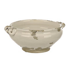 Distressed White Ceramic Decorative Bowl