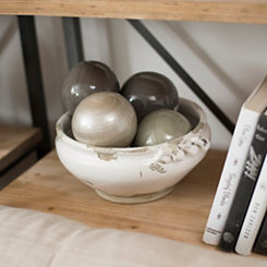Distressed White Ceramic Decorative Bowl