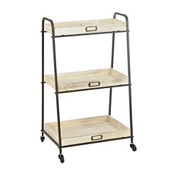 Cream 3-Tier Decorative Rolling Cart