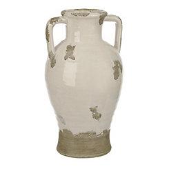 Distressed White Ceramic Jug Vase