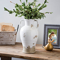 Distressed White Ceramic Jug Vase
