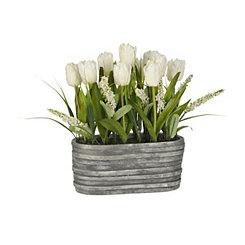 White Tulip Arrangement in Stone Planter