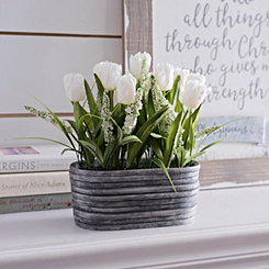White Tulip Arrangement in Stone Planter