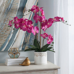 Pink Orchid Arrangement in White Metal Planter