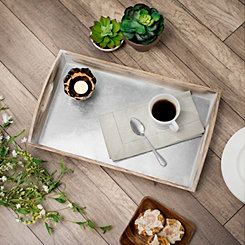 Natural Wood and Galvanized Metal Tray