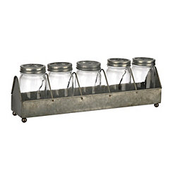 Galvanized Metal Glass Jar 6-pc. Vase Runner Set