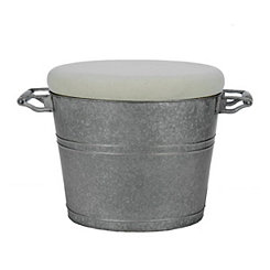 Galvanized Metal Tub Ottoman