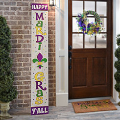 Happy Mardi Gras Y'all Wood Porch Plaque