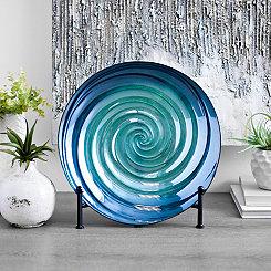 Blue Shades Swirl Decorative Plate