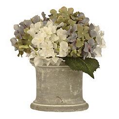 Blue Hydrangea Arrangement in Stone Pot Planter