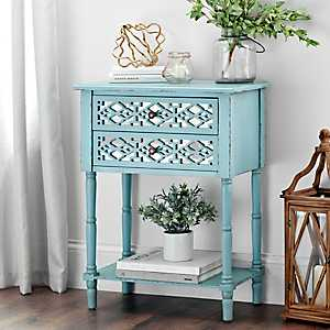 Blue Geometric 2-Drawer Accent Table