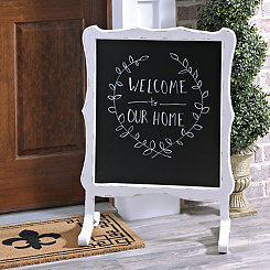White Scalloped Chalkboard Stand