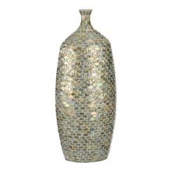 Iridescent Blue Mosaic Vase