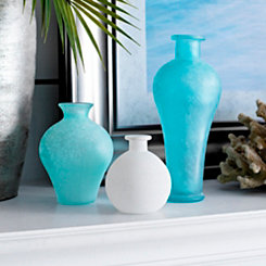 Blue and White Frosted Glass Vases, Set of 3