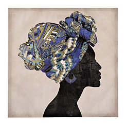 Blue Turban Silhouette Canvas Art Print