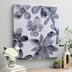 Charcoal Floral Watercolor I Canvas Art Print