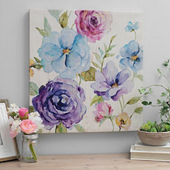 Florals on Shiplap I Canvas Art Print