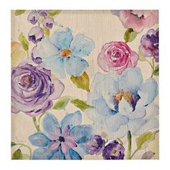 Florals on Shiplap II Canvas Art Print