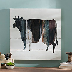 Wood Plank Cow Canvas Art Print