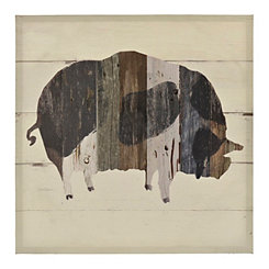 Wooden Plank Pig Canvas Art Print