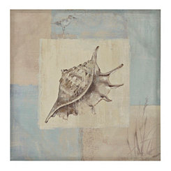 Bird and Shells Patchwork Canvas Art Print