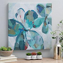 Variegated Turquoise Flowers II Canvas Art Print
