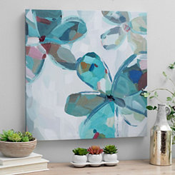 Variegated Turquoise Flowers Canvas Art Print