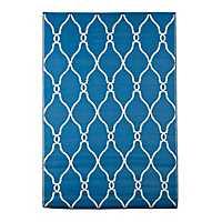 Blue Lattice Outdoor Rug, 4x6