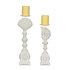 White Seashell Candle Holders, Set of 2