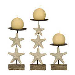 White Starfish Candlesticks, Set of 3