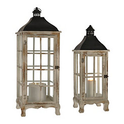 Large White Booth Lanterns, Set of 2