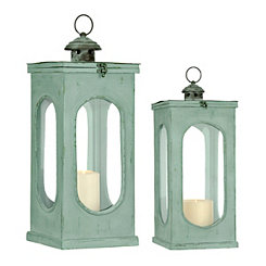 Aqua Oval Window Lanterns, Set of 2