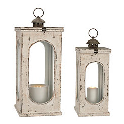 White Oval Window Lanterns, Set of 2
